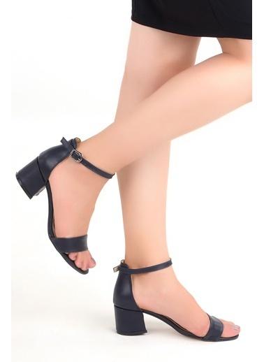 Ayakland Ayakland Bsm 62-5 Cilt 5 Cm Topuk Bayan Sandalet Ayakkabı Lacivert